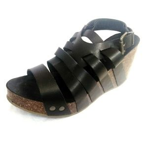 Blowfish Black Wedge Sandals